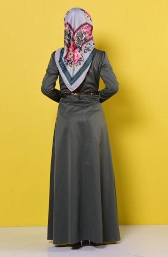 Kemerli Kolyeli Elbise 2201-07 Yeşil