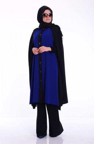 Saks-Blau Poncho 2367-03