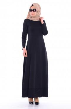 Sefamerve Tesettür Eteği Dantelli Elbise 0044-04 Siyah