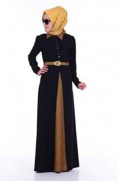 Sefamerve Kemerli Elbise 6383-03 Siyah Safran
