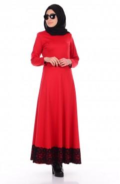 Sefamerve Eteği Dantelli Elbise 0044-12 Kırmızı