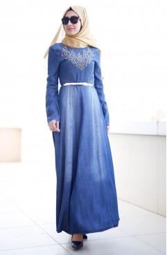 Sefamerve Nakışlı Kot Elbise 1709-01 Mavi