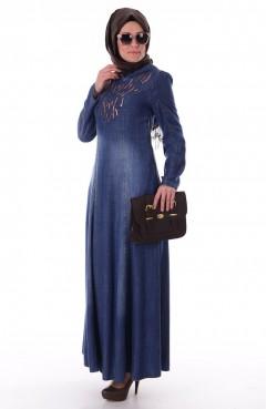 Sefamerve Pul İşlemeli Kot Elbise 1643-01 Mavi