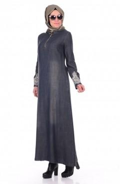Sefamerve Nakış Detaylı Elbise 1796-02 Koyu Yeşil