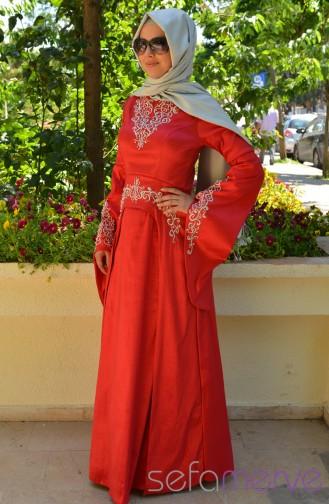 صفامروة حريم فستان سهرة بتفاصيل من أحجار لامعة PDY 3340-04 لون أحمر 3340-04