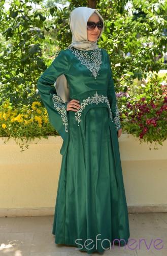 Sefamerve Hürrem Shiny stones Evening Dress PDY 3340-07 Green 3340-07