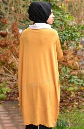 تونيك طويل بتصميم سادة 7744-02 لون أصفر 7744-02