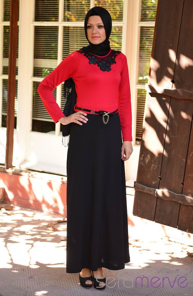 f82f4e2d702d1 Selviler Kombin Elbise 14.4133-05 Kırmızı-Siyah