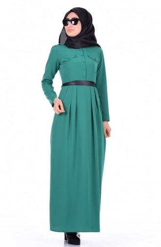 Krep Pileli Elbise 0002-02 Yeşil 0002-02