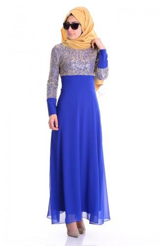Robe de Soirée Bordée de Paillette 2369-01 Bleu Roi 2369-01