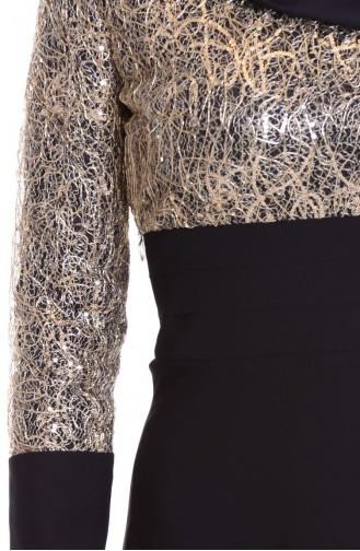 Robe de Soirée Bordée de Paillette 2369-04 Noir 2369-04