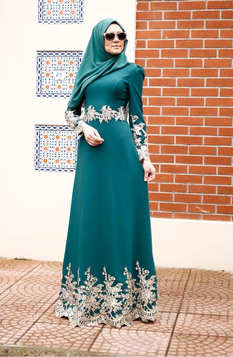 a3f00881427ff فساتين سهرة بتصميم اسلامي أخضر حشيشي 0007-01