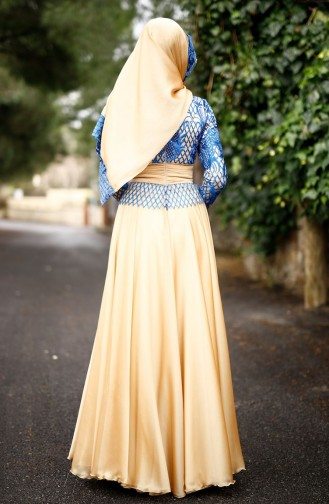 Saxon blue Islamic Clothing Evening Dress 0022-01