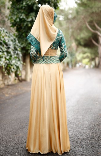 Green İslamitische Avondjurk 0022-02