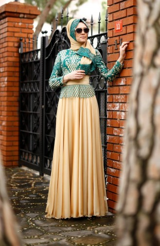 فستان مع شال للمناسبات لون اخضر  0022-02
