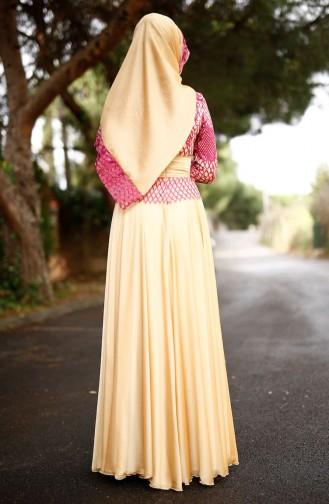 Spitzen Abendkleid mit Schal 0022-03 Fuchsia 0022-03