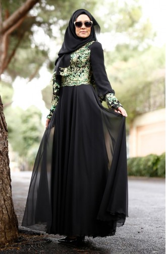 Green İslamitische Avondjurk 0035-01