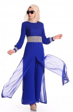 Sefamerve Şifon Astarlı Tulum Elbise 52414-05 Saks