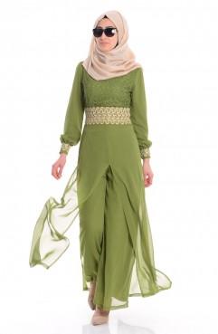 Sefamerve Şifon Astarlı Tulum Elbise 52414-07 Fıstık Yeşil