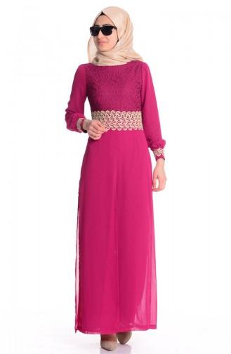 Şifon Astarlı Tulum Elbise 52414-08 Vişne Sefamerve