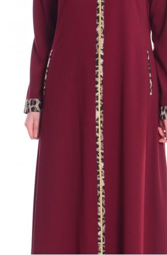 Claret red Abaya 7263-04