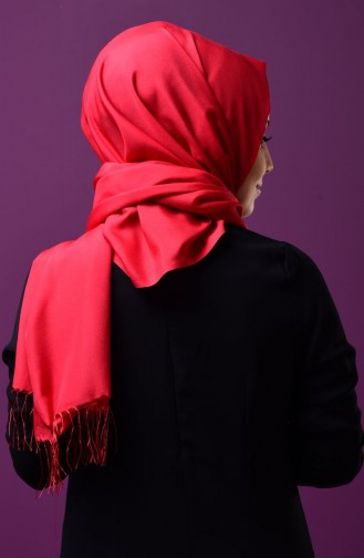 Red Snap Fastener Shawl 1-06