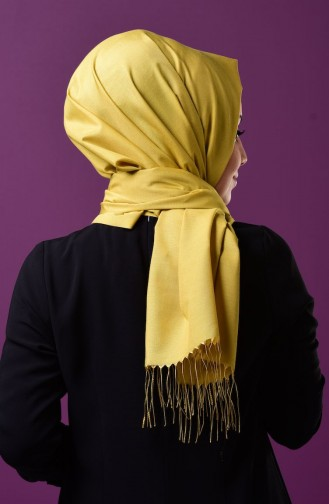 Yellow Snap Fastener Shawl 1-08
