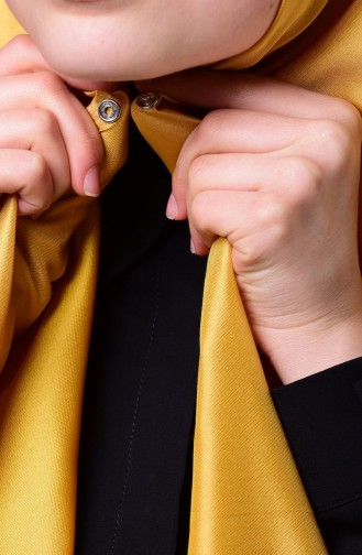 صفا ميرفي-شال بتصميم لامع لون أصفر داكن 1-14
