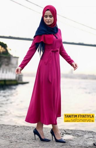 فستان مُزين بسلسال لون فوشي 4150-01