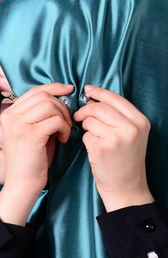 Mint green Sjaal met Drukknoop 1-37