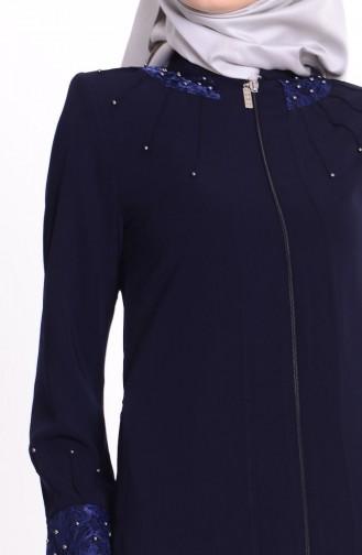 Abaya Détail Perles 0455-02 Bleu Marine 0455-02