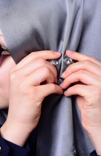 صفا مروة شال بتصميم كباس D1-27 لون رمادي وأسوود مائل للرمادي 1-27