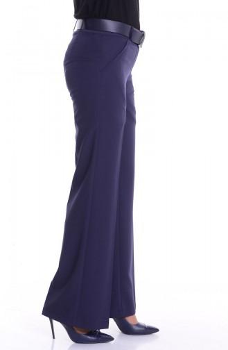 Pantalon a Ceinture 3068-09 Bleu Marine Foncé 3068-09