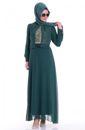İşlemeli Şifon Abiye Elbise 4022-02 Zümrüt Yeşil Sefamerve