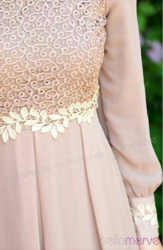 Lace Detail Dress FY 51983-03 Mink 51983-03