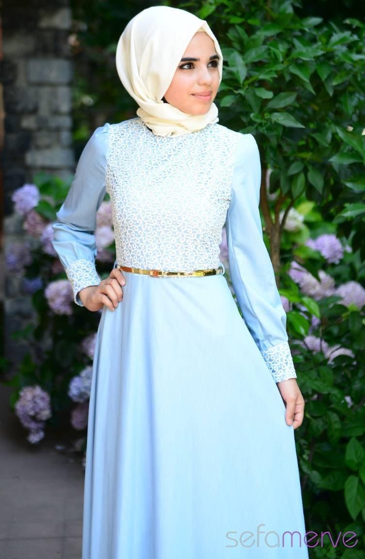 01bb7118b13b7 Tesettür Elbise FY 52043-02 Buz Mavi