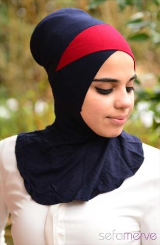 Sefamerve Hijab Bonnet 19 Navy Blue Claret Red 19