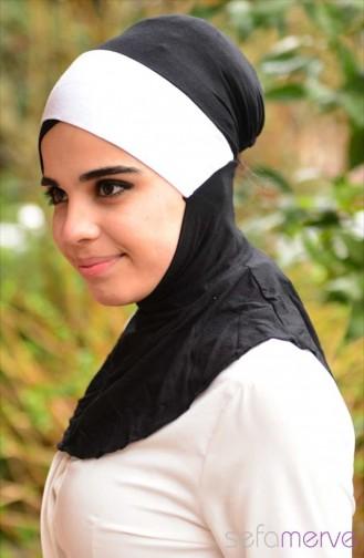 Sefamerve Hijab Bonnet 20 Black White 20