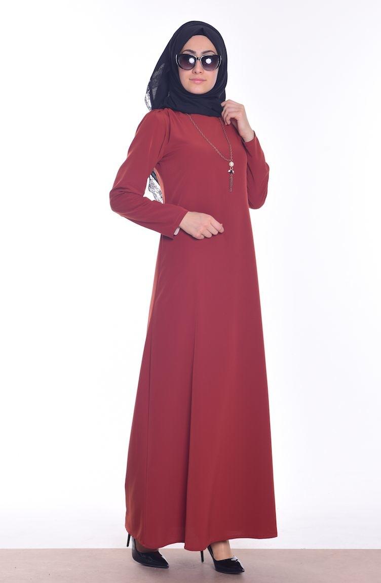 krep kolyeli elbise 4023-13 kiremit