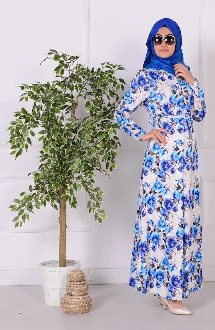 sivri yaka çiçekli elbise 3386-01 saks