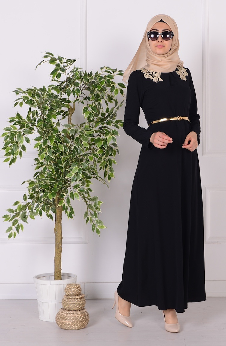 güpür detaylı kemerli elbise 52499-07 siyah