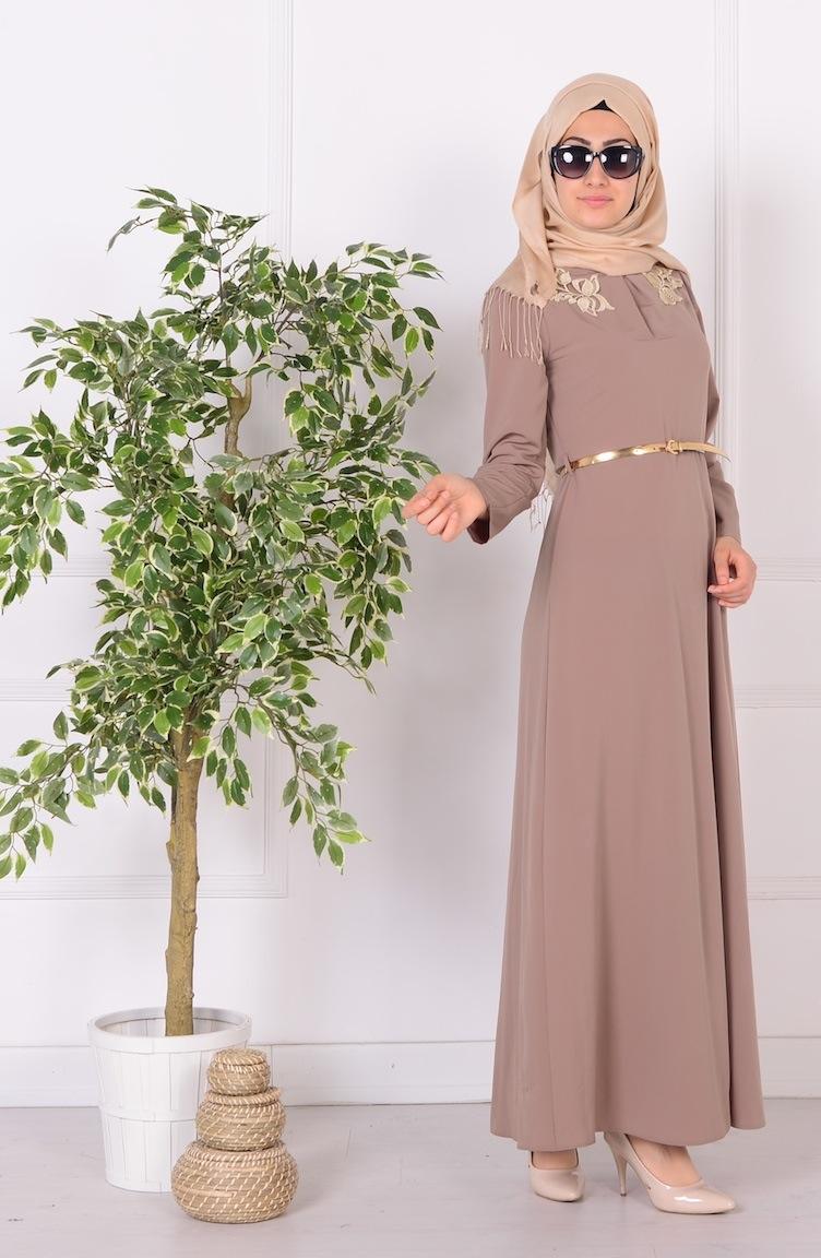güpür detaylı kemerli elbise 52499-08 vizon