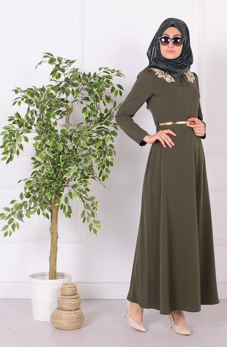 güpür detaylı kemerli elbise 52499-09 haki yeşil
