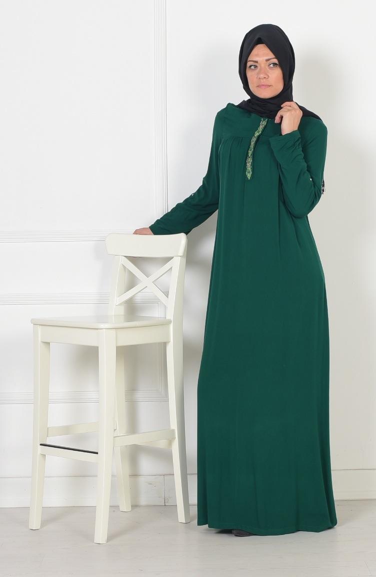 nakış detaylı viskon elbise 0783-01 yeşil