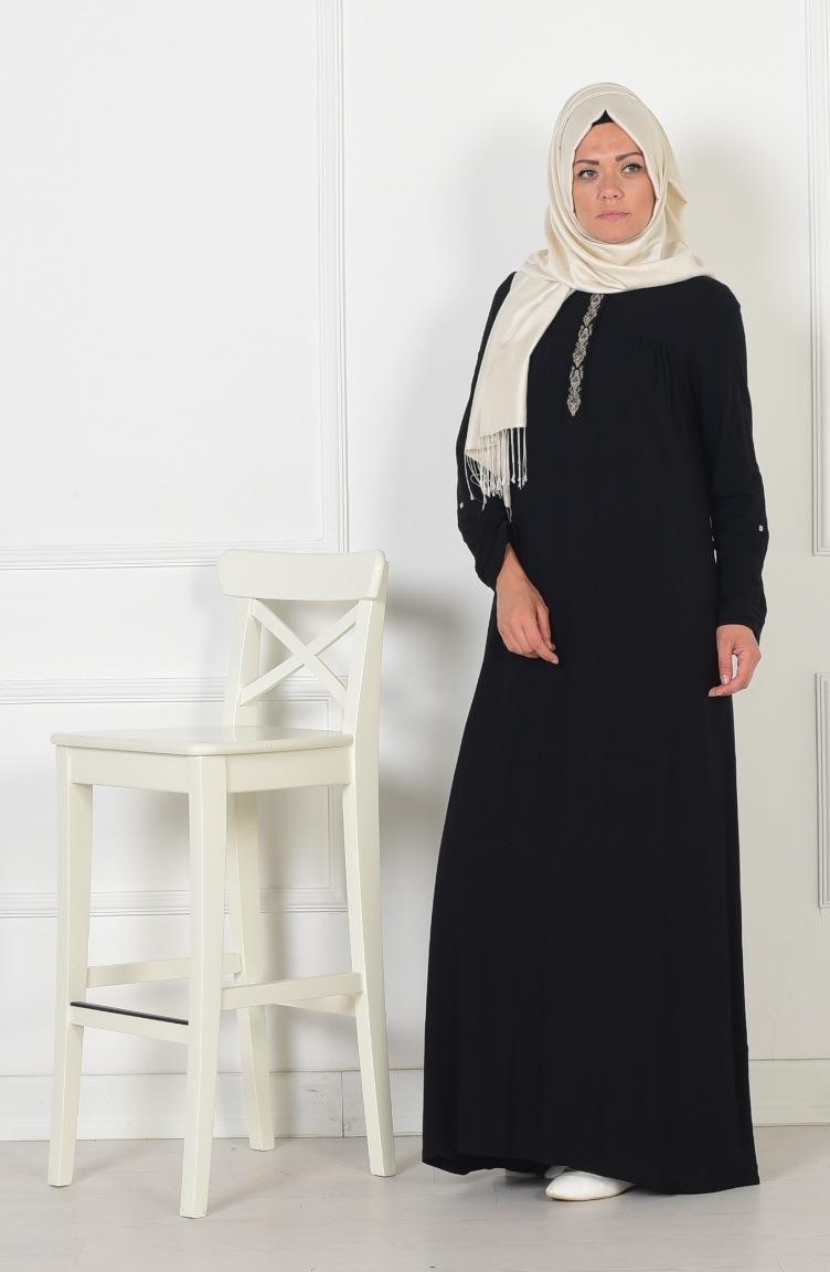 nakış detaylı viskon elbise 0783-04 siyah