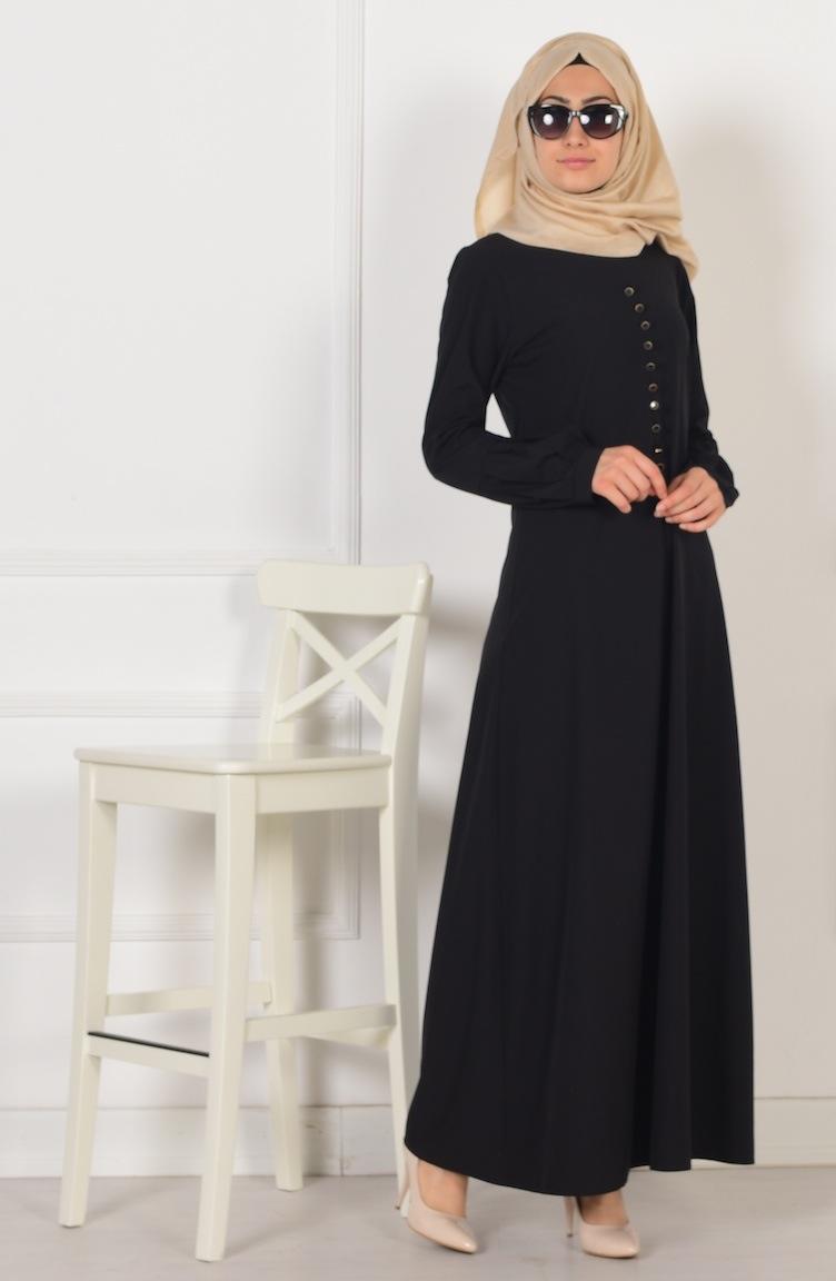 düğme detaylı elbise 2211-02 siyah