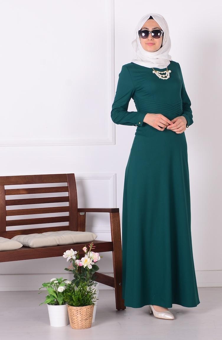 piliseli elbise 2627-04 yeşil
