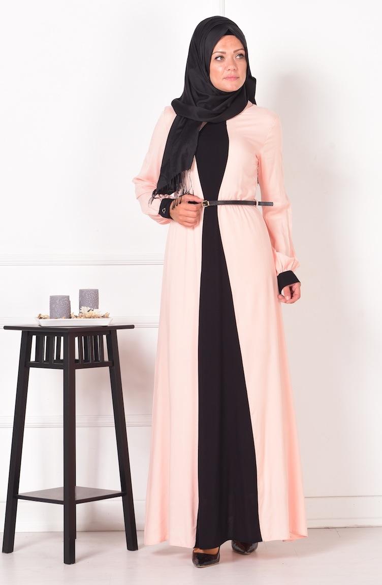 garnili viskon elbise 2216-06 pudra