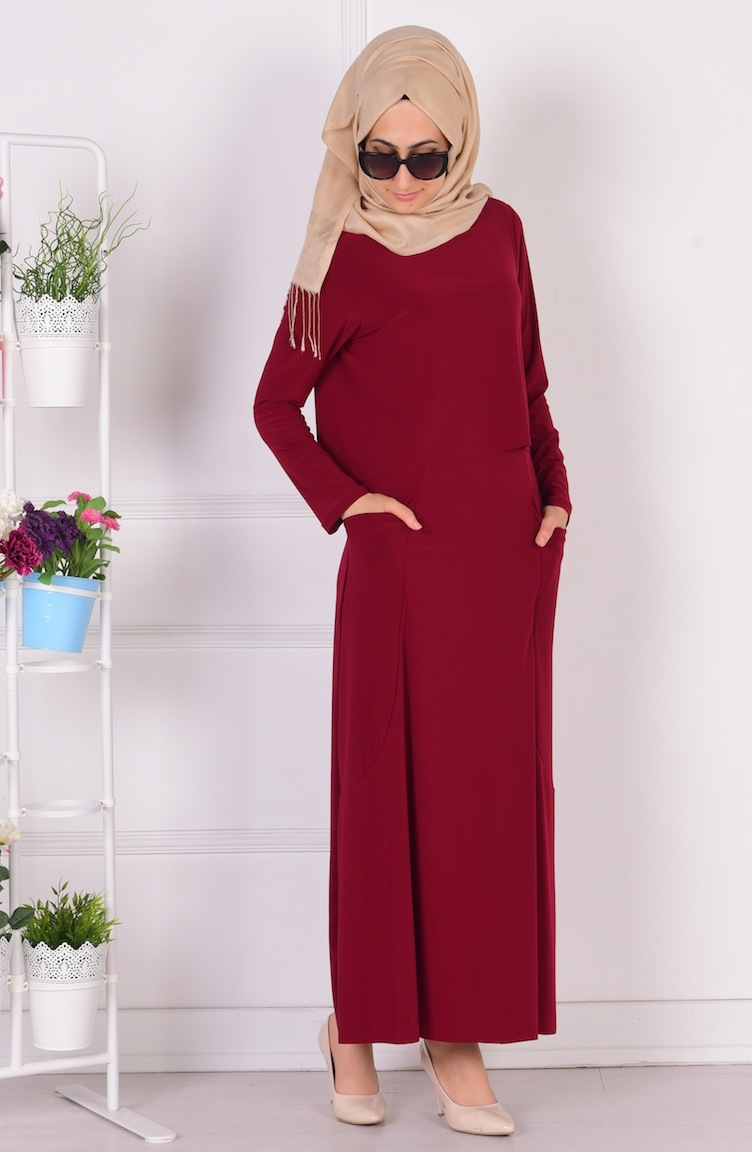 üstü pelerinli cepli sandy elbise 1808-05 bordo