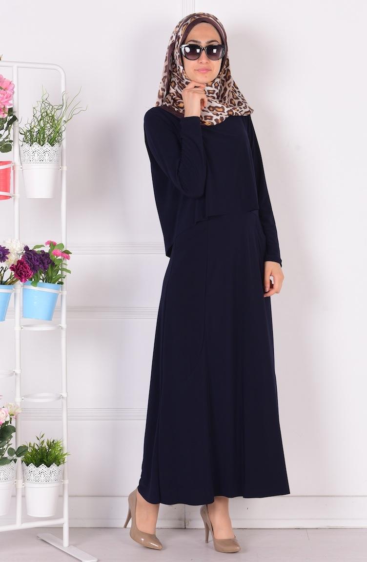 üstü pelerinli cepli sandy elbise 1808-02 lacivert